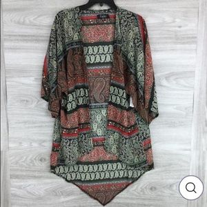 NEW Papillon Sheer Open Front Paisley Jacket S/M
